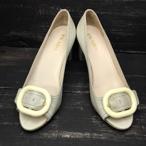 PRADA Leather Pumps with Chunky Heels Size 37